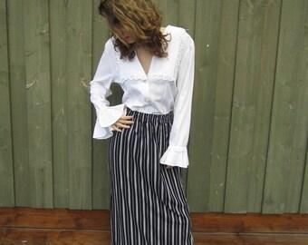 Vintage 80s Black White Striped Skirt Hippie Summer Festival Maxi High Waist Skirt Medium Size