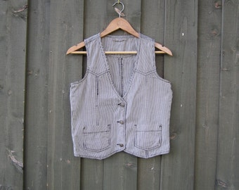 Striped White Blue Women's Vest Everyday Fitted Denim Waistcoat Small Size
