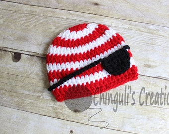 Crochet Pirate Hat Crochet White Red Stripes and Eye Patch Crochet Pirate Beanie Halloween Costume
