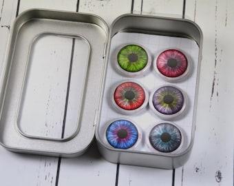 6 Eyeball Magnet Set, Halloween, One Inch Magnet, Stocking Stuffer