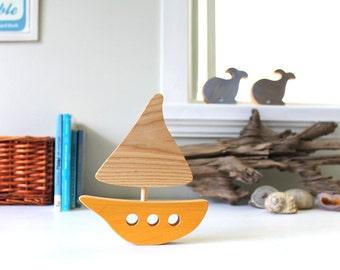 Wooden boat, wooden toy, baby's room decoration, ocean, sea, orange