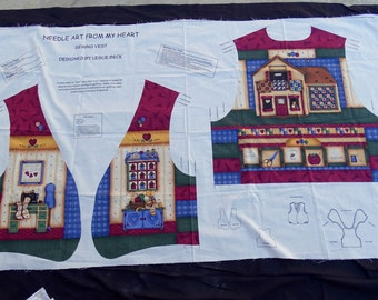 Needle Art From My Heart Vest Leslie Beck Fabric Panel S M L Free Shipping Usa