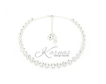CRYSTAL CLEAR 8MM Crystal Chaton Necklace Made With Swarovski Elements *Pick Your Metal *Karnas Design Studio *Free Shipping*