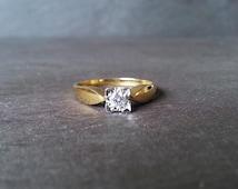 18 Carat Gold Square Cut Diamond Engagement Band Ring, Yellow Gold Diamond, Classic Elegant Engagement Ring