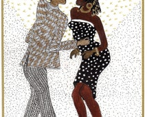 """AFRO/AMERICAN ART Card  Direct from the artist """"Disco Time""""  5.1/4"""" X 7"""" W/Env."""