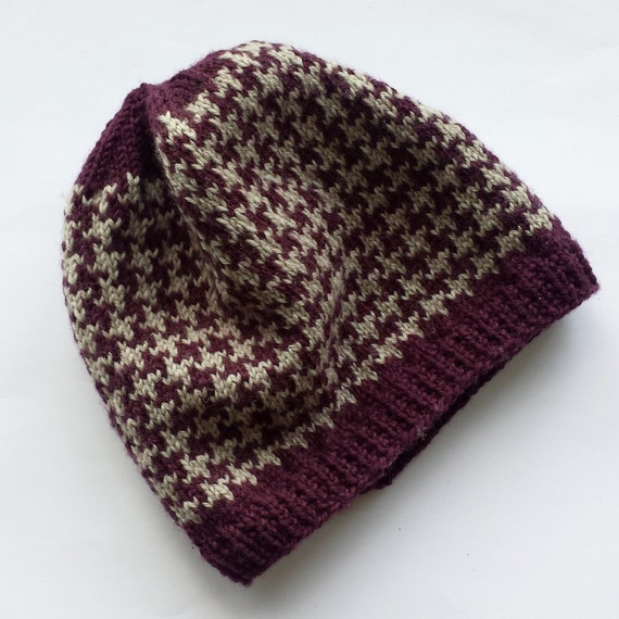 Pure merino purple and grey houndstooth hat