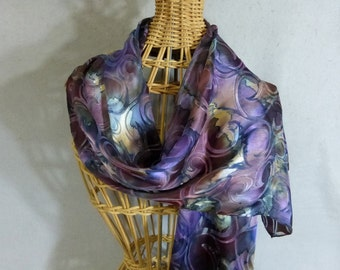 """Silk and Rayon Scarf """"Mauve and Eggplant Blend"""", Hand Painted Devore Scarf, Purple Scarf"""