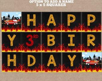 Firefighter Banner, Fireman Birthday Banner, Firefighter Birthday Banner, Fireman Banner, Firetruck Banner (#636)