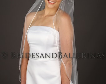 1 Layer Veil, Fingertip Length Veil, Rattail Edge Wedding Veil