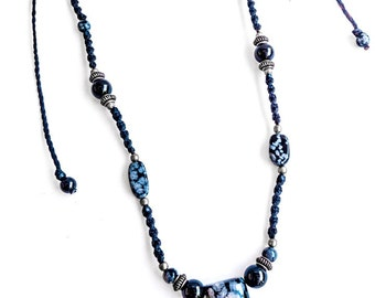 Snowflake Obsidian man necklace, macrame necklace, black and white, natural gemstones, men's macrame necklace, Boho, Rustic necklace, Tribal