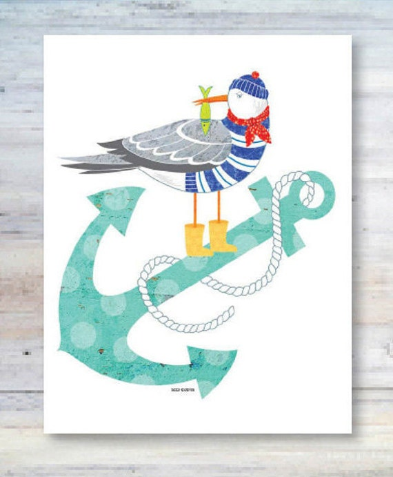 Note Card / Anchors Aweigh / Seagull Anchor And Fish / Sailor