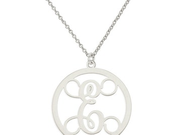 Personalized Initial A - Z Circle Monogram Pendant Necklace in Rhodium White Gold Over 925 Sterling Silver