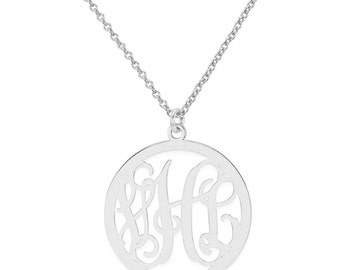 Custom Made 3 Initials Monogram Circle Necklace in 925 Sterling Silver - Monogram Necklace - Nameplate Necklace