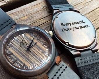 Ebony Wood Watch, Engraved Wooden Wrist Watch, Mens Wrist Watch, Gift for him, Anniversary Gift, Groomsmen Gift, Mens Wooden Watch