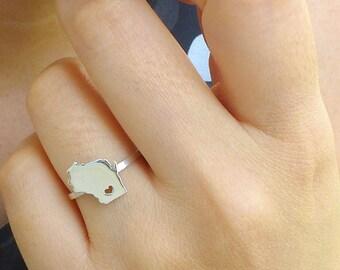 Sterling Silver Wisconsin Ring / Custom Heart / Wisconsin State Ring / Love Wisconsin / Wisconsin Map Ring / Wisconsin Heart