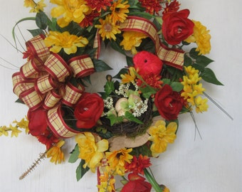 Red and Yellow Wreath, Small Grapevine Wreath, Bright Colors with Bird and Nest Door Decor