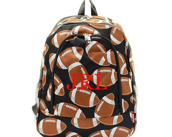 Personalized sports balls Football Print Backpack Custom Embroidered Book Bag Monogram Name