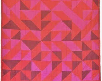 Patchwork Quilt: Greta Red Patchwork Quilt (Free Shipping)