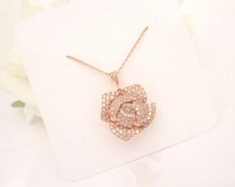 Rose Gold Bridal necklace, Rose Gold pendant necklace, Bridal jewelry, Rose Gold jewelry, Flower necklace, Crystal necklace, Simple necklace
