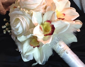 White silk rose and orchid Bride bouquet Rose Orchid bridal bouquet in white ivory and white rose and orchid bouquet wedding flowers