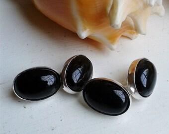 Sterling Silver Black Onyx Gemstone Oval Double Cufflinks