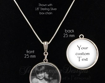 Custom quote necklace, PHOTO NECKLACE, Custom saying - custom text, custom photo pendant - 2 sided necklace - double sided pendant