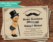 Mustache baby boy shower invitation. Vintage little man, top hat, bowtie, mustache, burlap. Baby boy couple shower digital invite. B184