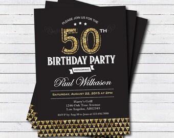 Fishing theme birthday invitation retro vintage adult man gold 50th birthday invitation man woman black and gold art deco 30th 40th filmwisefo