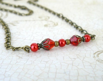 Red Necklace, Scarlet Pearl and Crystal Vintage Style Pendant, Romantic Jewelry, Red and Antique Brass Beaded Necklace, Valentine's Day Gift