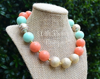 Mint & Coral Chevron Bubblegum Necklace, Chunky Necklace, Statement Necklace, Children's Necklace, Girl's Necklace, Chunky Bead, BN24