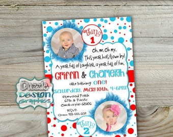 "Twin ""Thing 1"" and ""Thing 2"" birthday invitation 