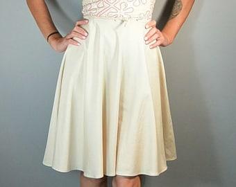 50s Summer Lace Dress// 50s Dress Circle Skirt// Cotton Summer Dress