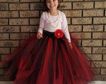 Black Red  Flower girl long Tutu Skirt  - Classic Red black Wedding,birthday,flower girl- Can Be MADE in Other COLOR