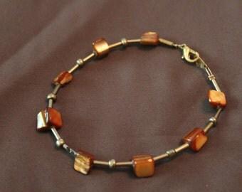 Bracelet polished stone and Silver