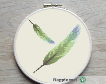 modern cross stitch pattern, feather, PDF  ** instant download**