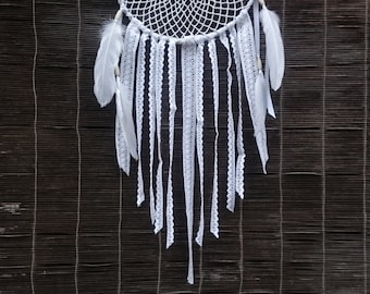 Big Doily Dreamcatcher, with white feathers and lace
