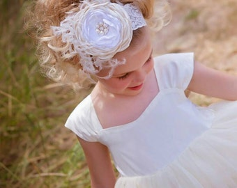 Ivory Cream White Singed Flower Headband ~ Smash Cake Outfit ~ Baby Infant Girls Teen Adult Headband ~ Couture Headband ~ Feathers and Lace
