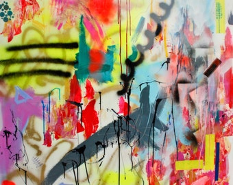 Abstract Art // Large Mixed Media Art // MANHATTEN SIDEWALKS