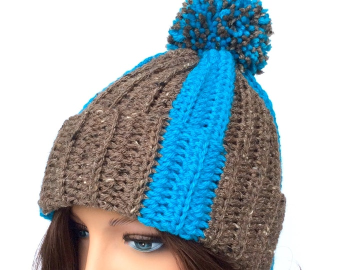 Crochet Hat with Pom Pom, Warm Winter Beanie for Women or Teens, Fashionable Crochet Hat with Pom in Turquoise and Brown