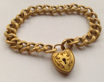 Victorian Gold Filled Bracelet with Heart Shaped Lock