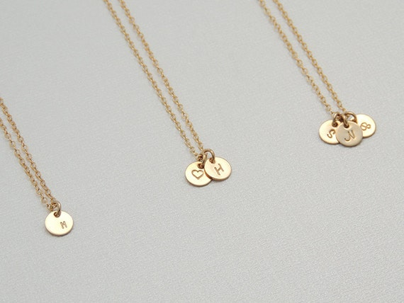 Tiny initial circle necklace personalized gold disk necklace like this item mozeypictures Images