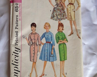 1960's Simplicity pattern # 5036 Misses Size 12 One-Piece Dress