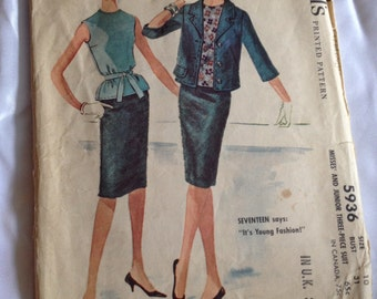 1961 McCall's pattern 5936 Size 10, Misses and Junior Three-Piece Suit