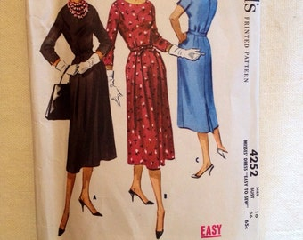 1957 McCall's pattern # 4252 Misses size 16 Dress