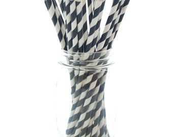Black Drinking Straws, Decorative Straws, Graduation Party Straws, Black and White Paper Straws, 25 Pack - Black Striped Straws
