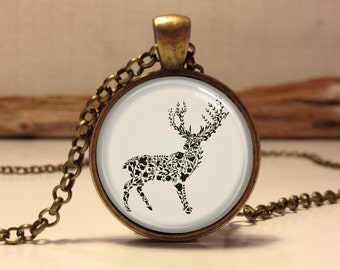 Deer necklace. forest animal necklace. Stag art pendant jewelry. deer jewelry. woodland jewelry (deer #1)