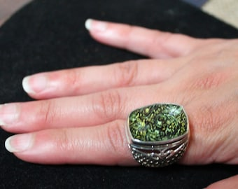 Lace Agate and Sterling Silver Ring/Vintage Lace Agate Ring/Vintage Green Agate Ring