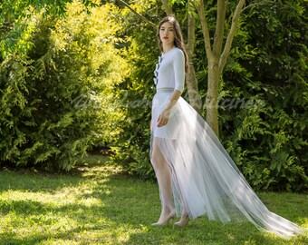 Breath of tulle - detachable tulle skirt / bridal overskirt / wedding dress skirt / bridal overskirt / circle tulle skirt