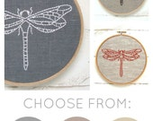 Easy embroidery kit, dragonfly embroidery pattern, modern embroidery, simple linen needlecraft kit, dragonfly pattern, gift for her