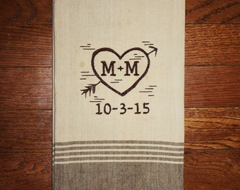 rustic personalized wedding gift kitchen tea towel~ heart with arrow with bride and groom initials and wedding date western wedding gift